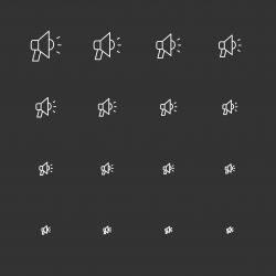 Megaphone Icons - White Multi Scale Line Series