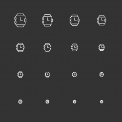 Wristwatch Icons - White Multi Scale Line Series