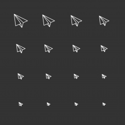 Paper Airplane Icons - White Multi Scale Line Series