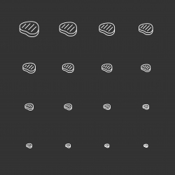 Steak Icons - White Multi Scale Line Series