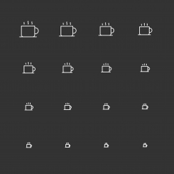 Hot Coffee Icons - White Multi Scale Line Series