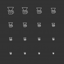 Coffee Drip Icons - White Multi Scale Line Series