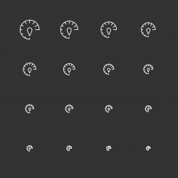 Speed Meter Icons - White Multi Scale Line Series