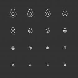 Avocado Icons - White Multi Scale Line Series