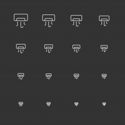 Air Conditioner Icons - White Multi Scale Line Series