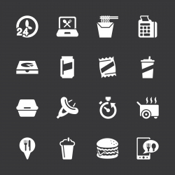 Take Out Food Icons - White Series | EPS10