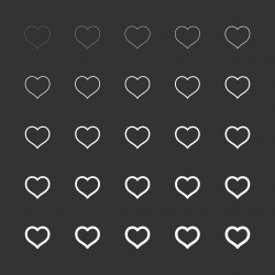 Heart Shape Icon - White Multi Line Series