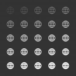 Globe Icon - White Multi Line Series