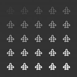 Airplane Icon - White Multi Line Series