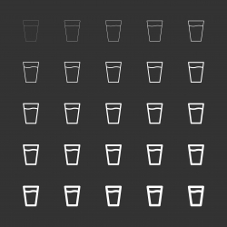 Glass of Water Icon - White Multi Line Series