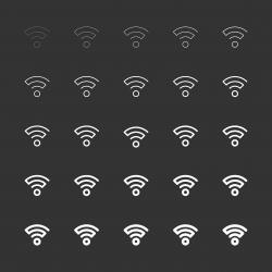 Wireless Signal Icon - White Multi Line Series