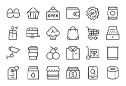 Retail Store Icons - Light Line Series