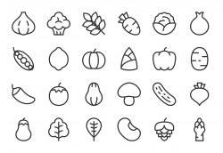 Vegetable Icons - Light Line Series