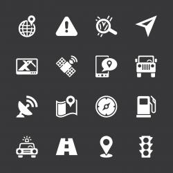 GPS Icons - White Series   EPS10