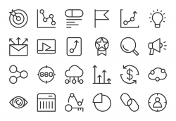 Search Engine Optimization Icons - Light Line Series