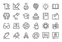 Education Icons - Light Line Series