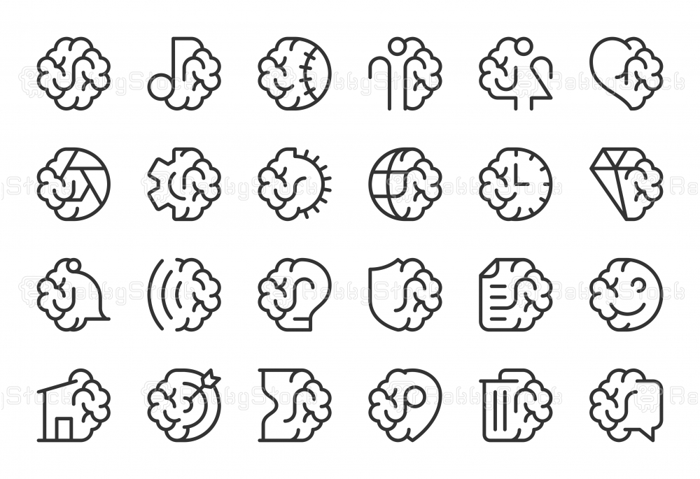 Brain with Basic Icons - Light Line Series