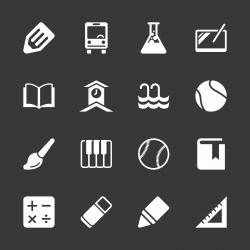 School Icons Set 2 - White Series | EPS10
