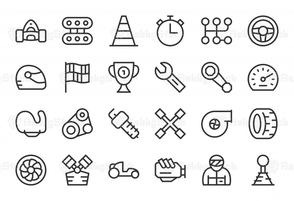 Motor Racing Icons - Light Line Series
