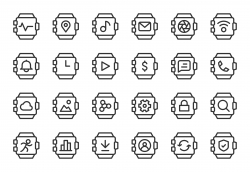 Smart Watch Icons - Light Line Series