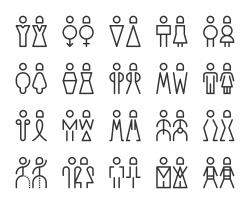 Men and Women Sign - Line Icons