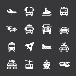 Transportation Icons Set 2 - White Series | EPS10