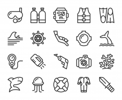 Scuba Diving and Snorkeling - Line Icons