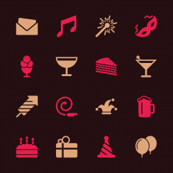 Birthday Celebrations Party Icons - Color Series | EPS10