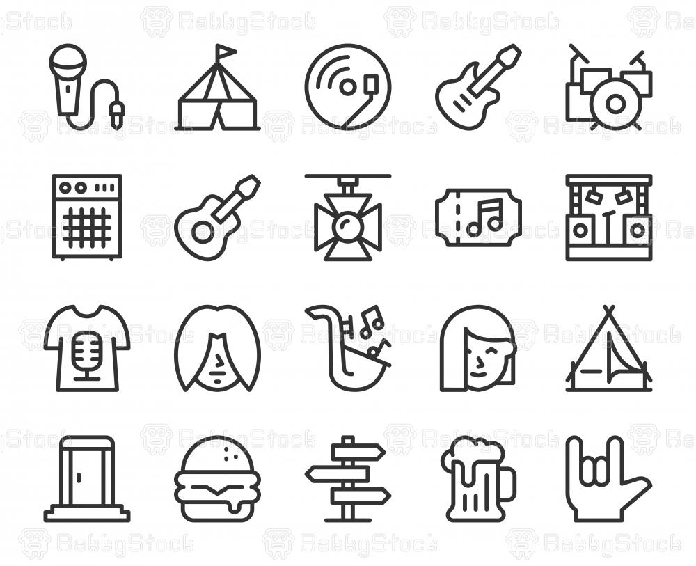 Music Festival - Line Icons