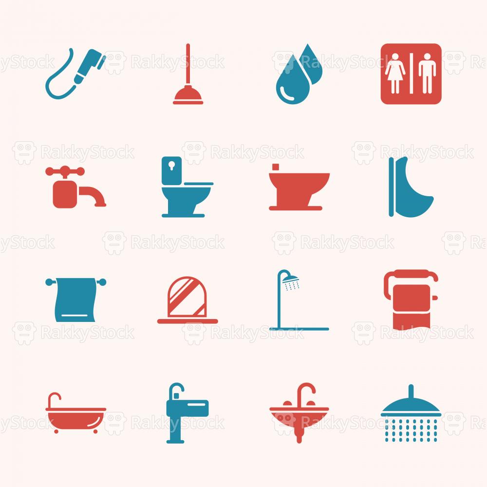 Bath and Bathroom Icons - Color Series | EPS10