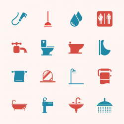 Bath and Bathroom Icons - Color Series | EPS10