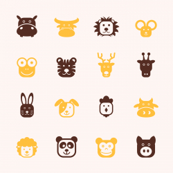 Animal Faces Icons - Color Series | EPS10
