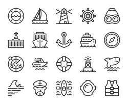 Nautical and Harbor - Line Icons