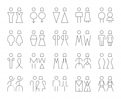 Men and Women Sign - Thin Line Icons