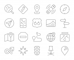 GPS and Navigation - Thin Line Icons