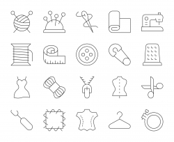 Sewing and Needlework - Thin Line Icons