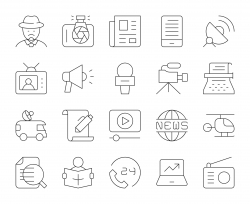 News Reporter - Thin Line Icons