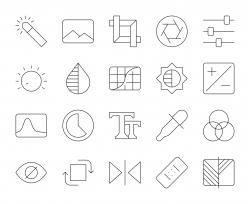 Photo Editor - Thin Line Icons