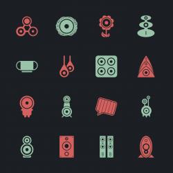 Loudspeaker Design Icons - Color Series | EPS10