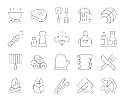 Barbecue Grill - Thin Line Icons