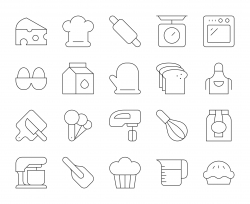 Baking and Bakery - Thin Line Icons