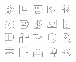 Mobile Banking and Payment - Thin Line Icons