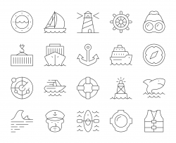 Nautical and Harbor - Thin Line Icons