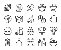 Seafood and Grilled - Line Icons
