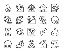 Loan and Interest - Line Icons