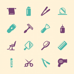 Hair Care Barber Icons - Color Series | EPS10