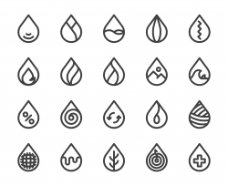Drop Shape - Bold Line Icons