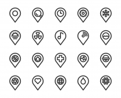 Map Pin Pointer - Bold Line Icons