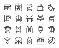 Coffee Shop - Bold Line Icons