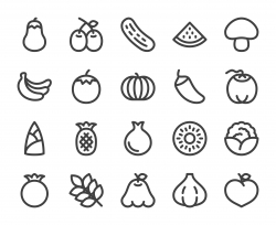 Vegetable and Fruit - Bold Line Icons